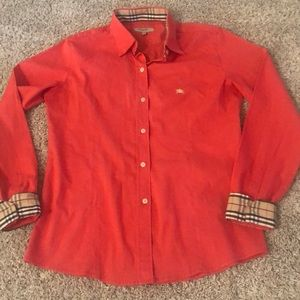 Burberry pink red button down long sleeves shirt M